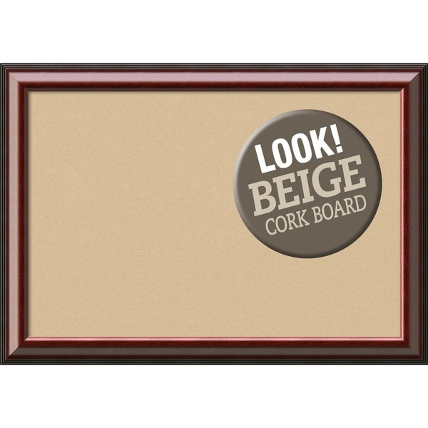 Framed Beige Cork Board, Cambridge Mahogany