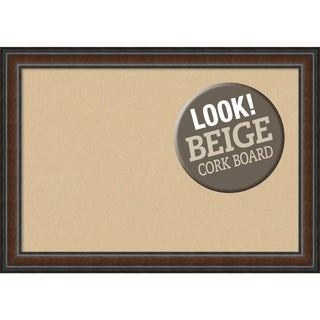 Framed Beige Cork Board, Cyprus Walnut
