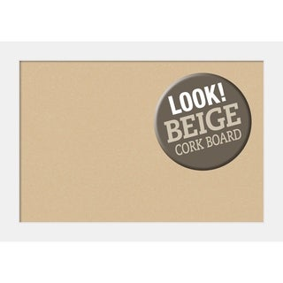 Framed Beige Cork Board, Corvino White