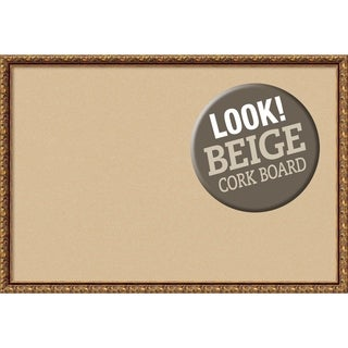 Framed Beige Cork Board, Antique Bronze