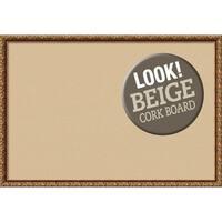 Framed Beige Cork Board, Antique Bronze