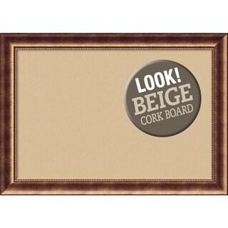 Framed Beige Cork Board, Manhattan Bronze