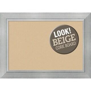 Framed Beige Cork Board, Romano Silver