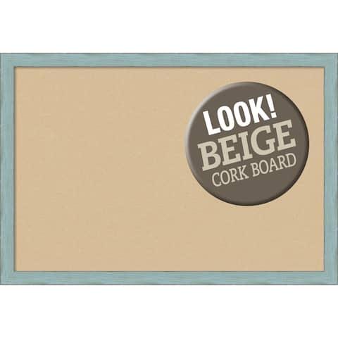 Framed Beige Cork Board, Sky Blue Rustic
