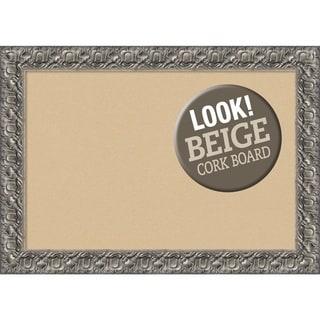 Framed Beige Cork Board, Silver Luxor