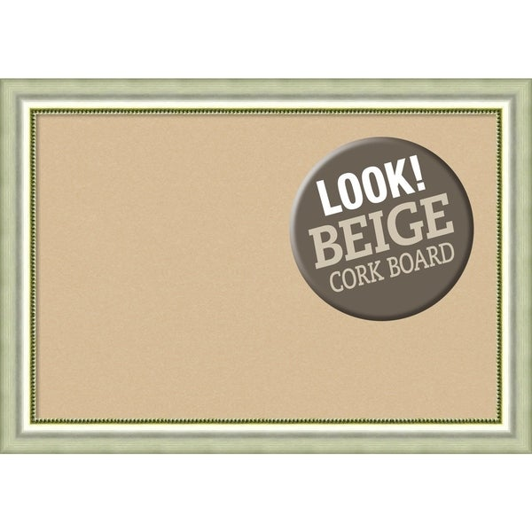 Framed Beige Cork Board, Vegas Curved Silver