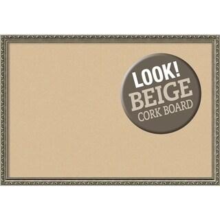 Framed Beige Cork Board, Parisian Silver