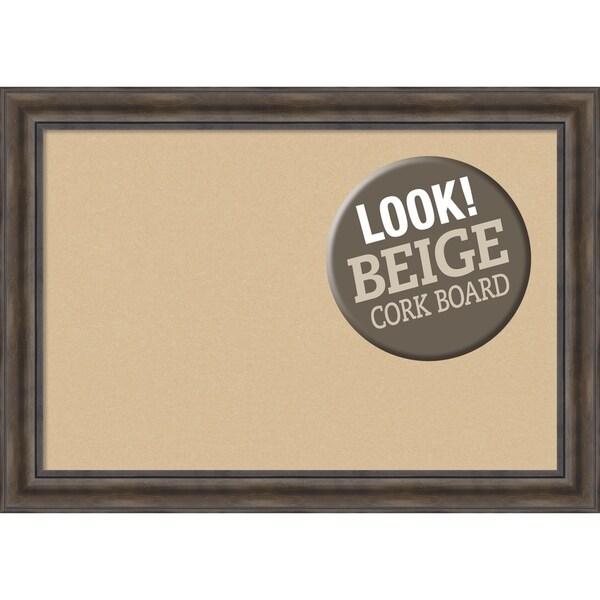 Framed Beige Cork Board, Rustic Pine