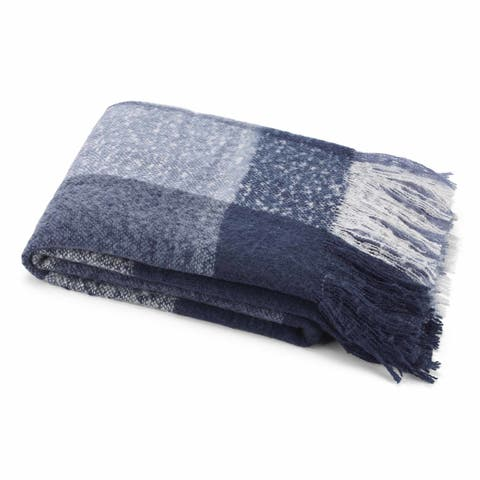 Nautica Blue Plaid Faux Mohair Throw