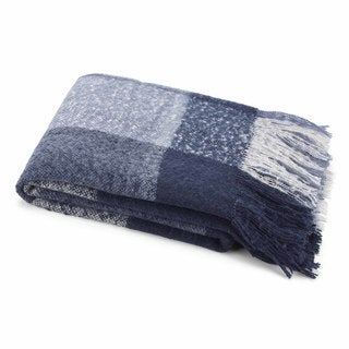 Nautica Blue Plaid Mohair Throw