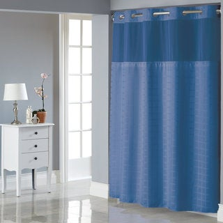Hookless Square Tile Shower Curtain with Snap-On Liner