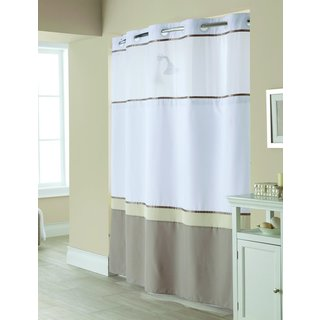 Hookless Windsor Colorblock Shower Curtain with Snap-On Liner