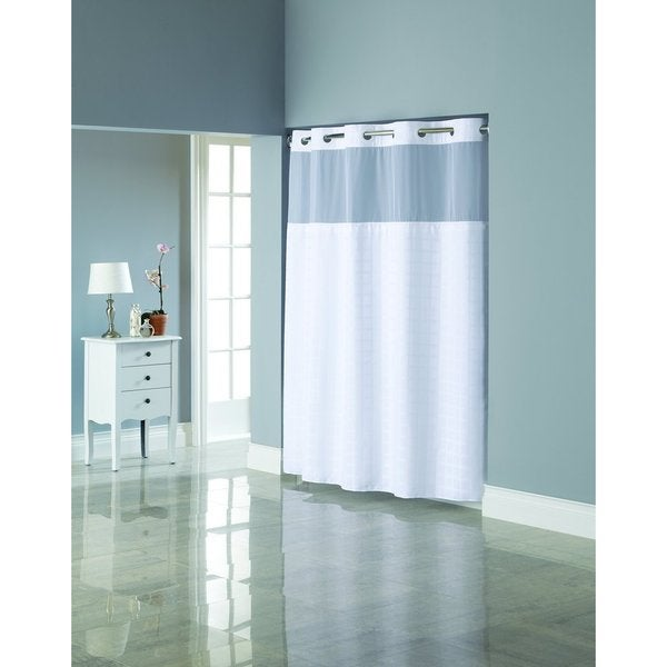 Hookless Jacquard Shower Curtain with Snap-On Liner