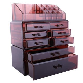 Plastic 3-piece Makeup Organizer and Storage Case|https://ak1.ostkcdn.com/images/products/16936151/P23225446.jpg?impolicy=medium
