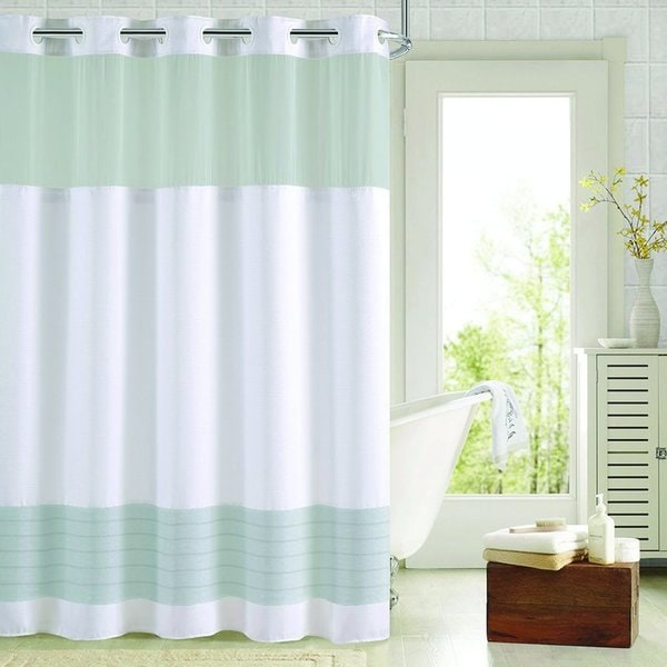 Hookless Colorblock Shower Curtain with Snap-On Liner