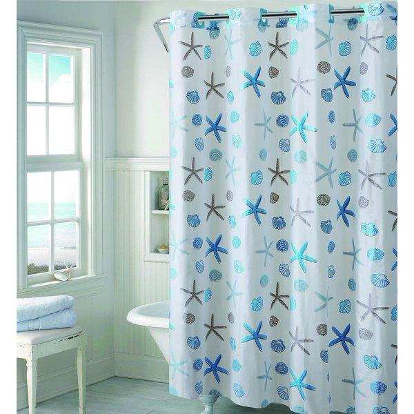 Hookless EZ-ON Seashell Shower Curtain