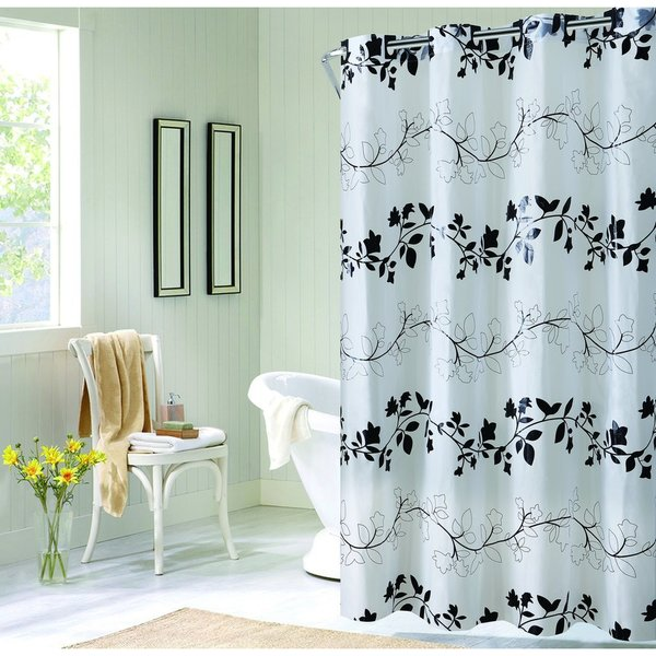 Hookless EZ-ON Floral Vine Shower Curtain
