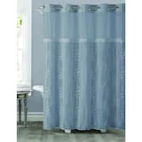 Hookless Palm Leaves Shower Curtain with Snap-On Liner