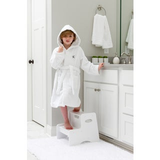Sweet Kids Turkish Cotton Terry White with Black Script Monogram Hooded Bathrobe