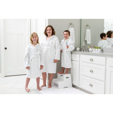 Sweet Kids Turkish Cotton Terry White with Dark Grey Block Monogram Hooded Bathrobe