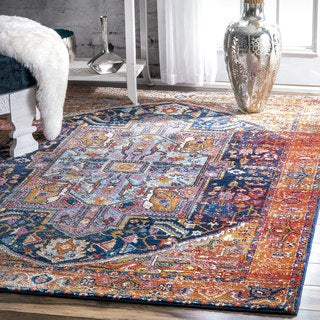 nuLOOM Traditional Intricate and Vibrant Medallion Tribal Multi Rug (5'3 x 7'9)