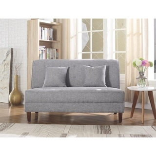 Button Tufted Loveseat with Pillows, Gray Color