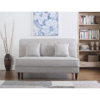 Button Tufted Loveseat with Pillows, Light Brown Color