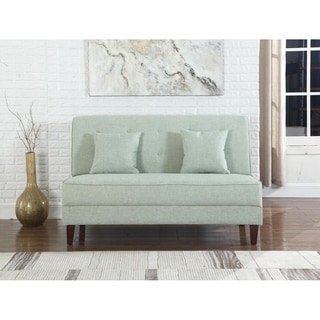 Button Tufted Loveseat with Pillows, Green Color