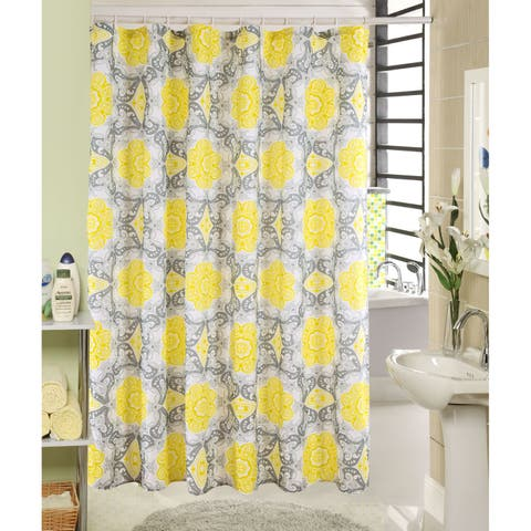 RT Designers Collection Dawn Printed Canvas Shower Curtain and Hook Set