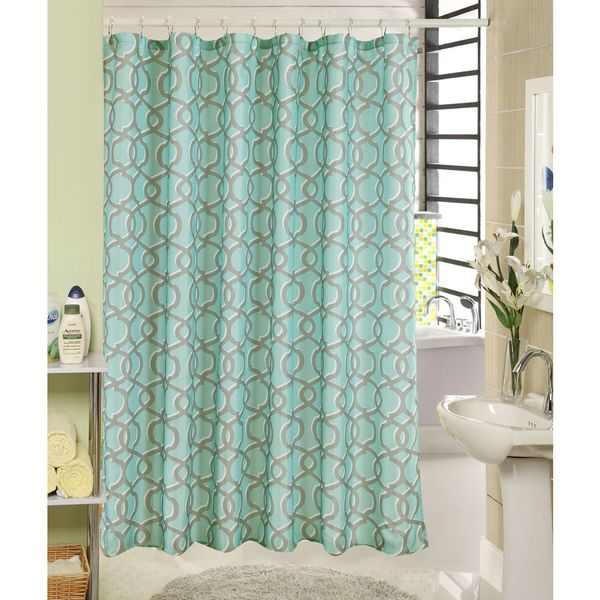 RT Designers Collection Globe Printed Canvas Shower Curtain and Hook Set