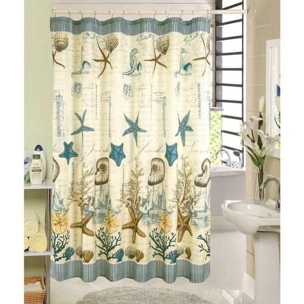 RT Designers Collection Ocean Printed Canvas Shower Curtain and Hook Set