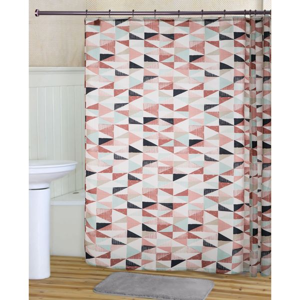 RT Designers Collection Sail Printed Canvas Shower Curtain and Hook Set
