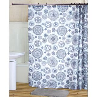 RT Designers Collection Scallop Printed Canvas Shower Curtain and Hook Set