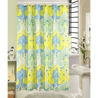 RT Designers Collection Wave Printed Canvas Shower Curtain and Hook Set