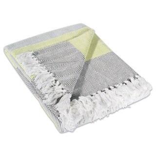 Yellow Stripe Cotton Herringbone Throw