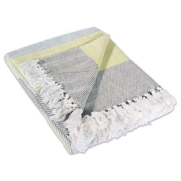 Yellow Stripe Cotton Herringbone Throw