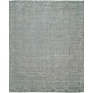 Avalon Crystal Blue Wool/ Viscose Handmade Area Rug (3'6 x 5'6)