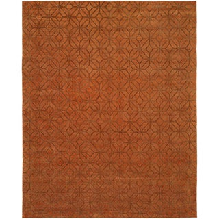 Avalon Spice Wool/Viscose Handmade Area Rug - 5' x 7'