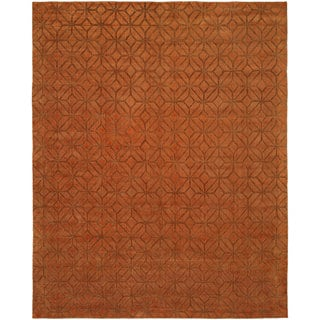 Avalon Spice Wool and Viscose Handmade Area Rug - 6' x 9'