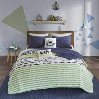 Urban Habitat Kids Aaron Green/ Navy Cotton Printed Quilted 5-piece Coverlet Set|https://ak1.ostkcdn.com/images/products/16936746/P23225942.jpg?_ostk_perf_=percv&impolicy=medium