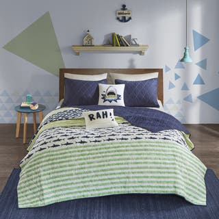 Urban Habitat Kids Aaron Green/ Navy Cotton Printed Quilted 5-piece Coverlet Set|https://ak1.ostkcdn.com/images/products/16936746/P23225942.jpg?impolicy=medium