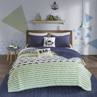 Urban Habitat Kids Aaron Green/ Navy Cotton Printed Quilt 5-piece Coverlet Set