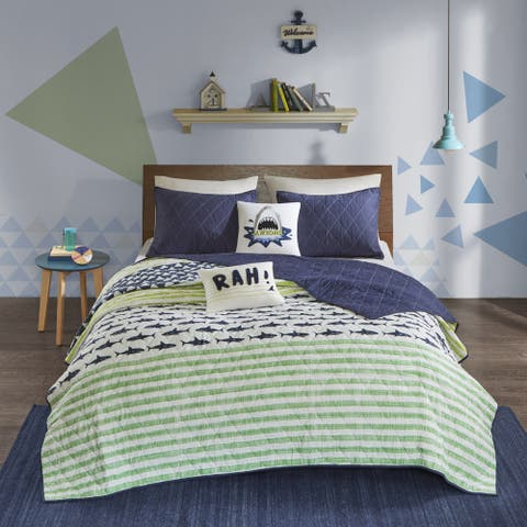 Urban Habitat Kids Aaron Shark Green/ Navy Cotton Reversible Coverlet Set