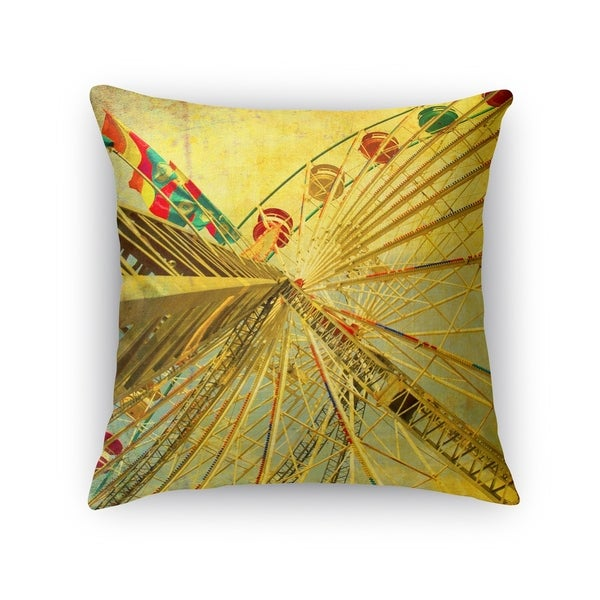 Kavka Designs yellow/ tan/ red/ green eyes skyward accent pillow with insert
