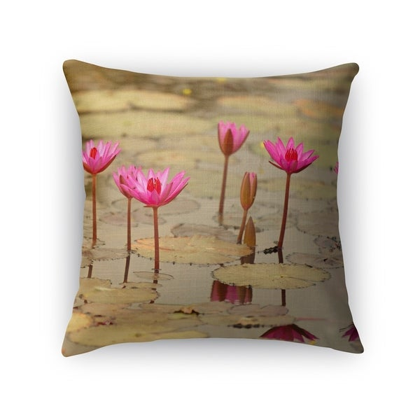 Kavka Designs pink/ green lotus accent pillow with insert