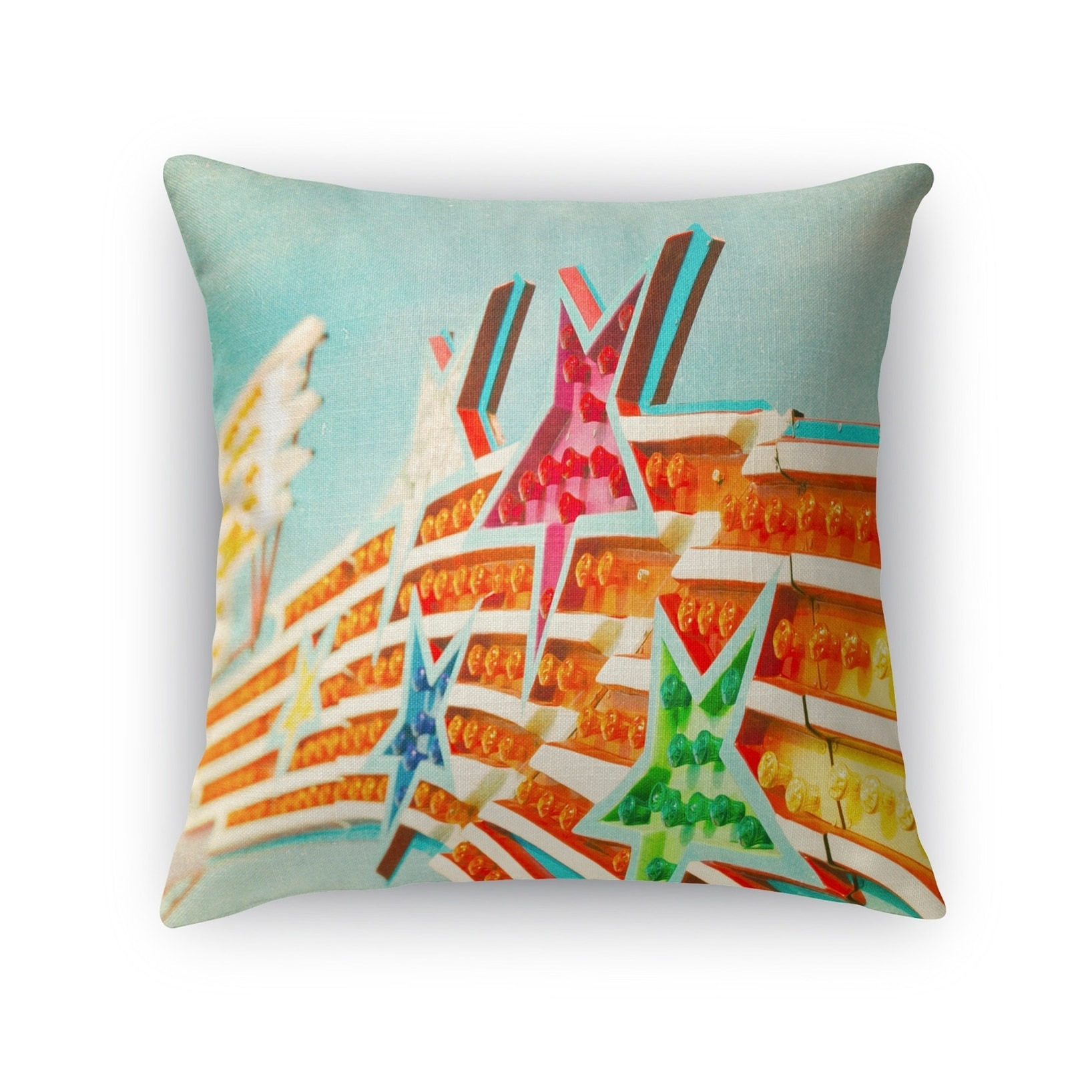 Kavka Designs orange/ blue/ pink/ green shooting stars accent pillow with insert (24 x 24)