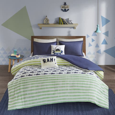 Urban Habitat Kids Aaron Green/ Navy Cotton Printed 5-piece Duvet Cover Set