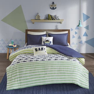 Urban Habitat Kids Aaron Green/ Navy Cotton Printed 5-piece Duvet Cover Set|https://ak1.ostkcdn.com/images/products/16936923/P23225943.jpg?impolicy=medium