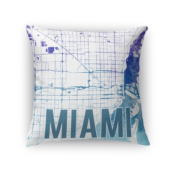 Kavka Designs blue/ purple/ white miami purple sunset front accent pillow with insert