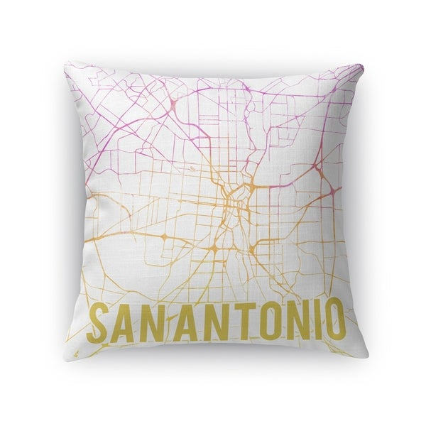 Kavka Designs pink/ purple/ gold/ white san antonio pink sunset front accent pillow with insert